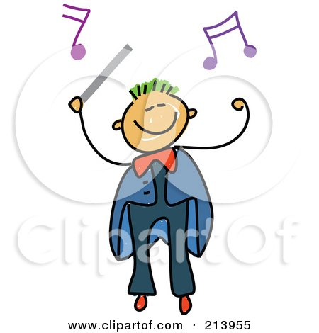 Royalty-Free (RF) Clipart Illustration of a Childs Sketch Of A Boy Conductor by Prawny