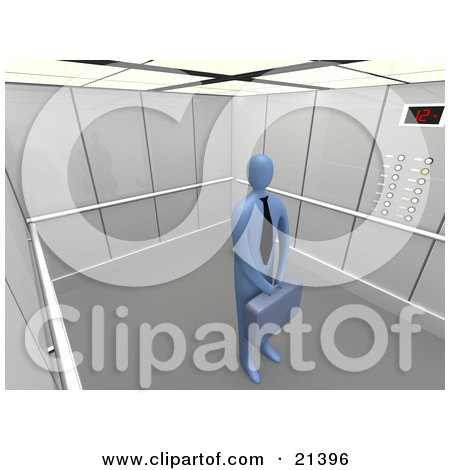 Clipart Illustration of a Lone Blue Businessman In A Tie, Holding A Briefcase And Standing Patiently In An Elevator by 3poD
