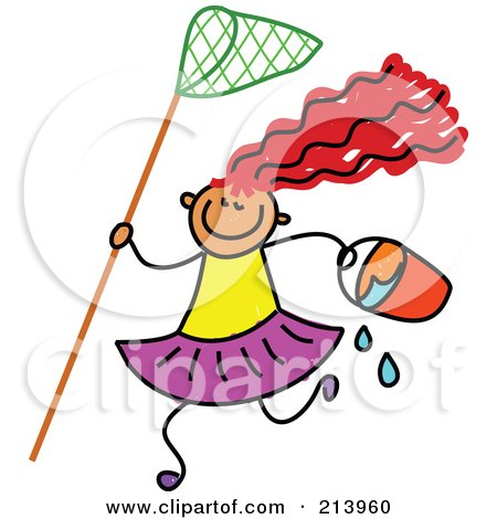Royalty-Free (RF) Clipart Illustration of a Childs Sketch Of A Beach Girl With A Net And Bucket by Prawny