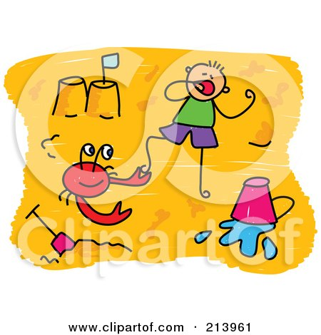 Royalty-Free (RF) Clipart Illustration of a Childs Sketch Of Childs Sketch Of A Boy And Crab On A Beach by Prawny