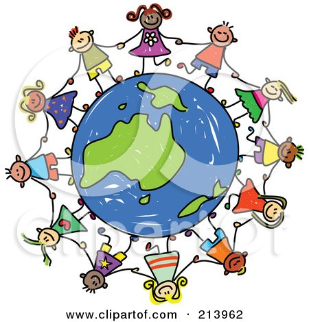 Royalty-Free (RF) Clipart Illustration of a Childs Sketch Of Children Holding Hands Around An Australian Globe by Prawny