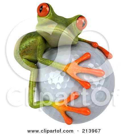 Royalty-Free (RF) Clipart Illustration of a 3d Springer Frog Hugging A Golf Ball by Julos