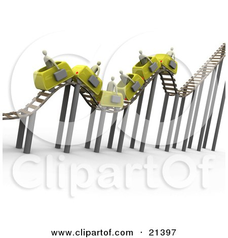 Clipart Illustration of a Bumpy Yellow Roller Coaster Transporting Gray Businessmen With Briefcases by 3poD