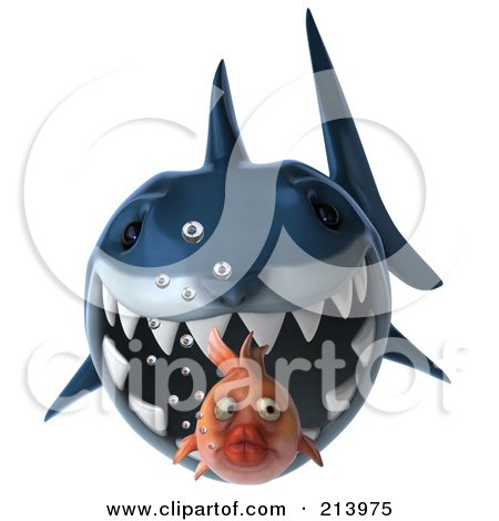 Royalty-Free (RF) Clipart Illustration of a 3d Blue Shark Swimming Forward And Chasing A Goldfish by Julos