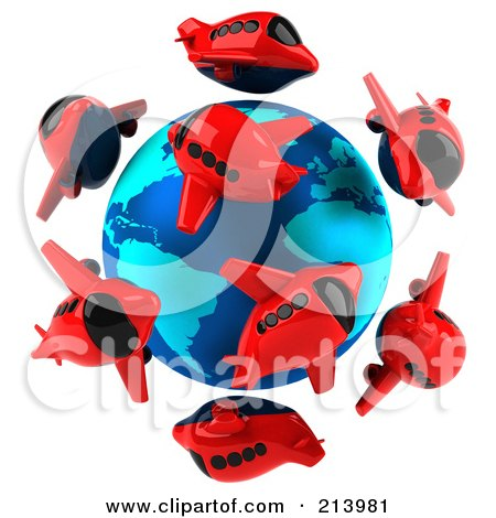 Royalty-Free (RF) Clipart Illustration of a 3d Globe Surrounded By Red Airplanes by Julos