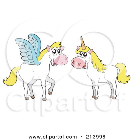 Royalty-Free (RF) Clipart Illustration of a Digital Collage Of Pegasus And A Unicorn by visekart