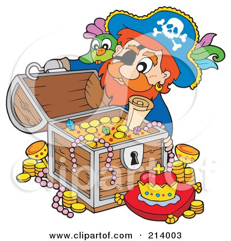 Royalty-Free (RF) Clipart Illustration of a Male Pirate Opening A Treasure Chest by visekart