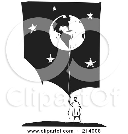 Royalty-Free (RF) Clipart Illustration of a Woodcut Styled Holding Onto A Balloon Globe Over A Starry Sky by xunantunich