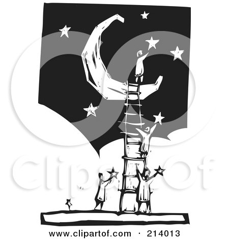 Royalty-Free (RF) Clipart Illustration of a Woodcut Styled Team With A Ladder Up To A Crescent Moon, Applying Stars In The Sky by xunantunich
