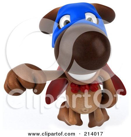 Royalty-Free (RF) Clipart Illustration of a 3d Brown Pooch Super Hero Flying Forward by Julos