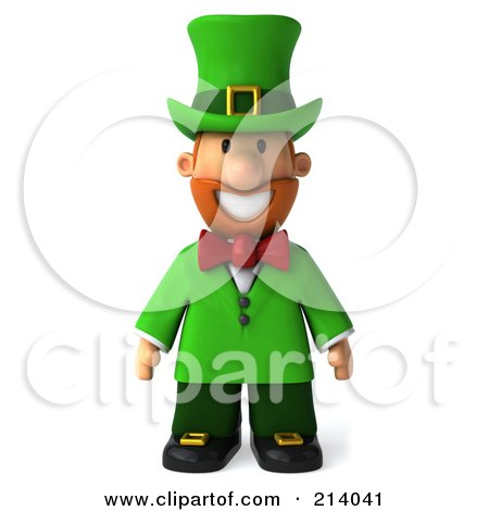 Royalty-Free (RF) Clipart Illustration of a 3d Leprechaun Man Standing And Facing Front by Julos