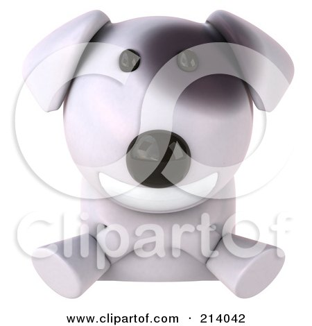 Royalty-Free (RF) Clipart Illustration of a 3d Bull Terrier Dog Smiling Over A Blank Sign by Julos