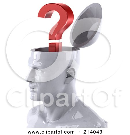 3d White Male Head Character With A Question Mark, Facing Left Posters, Art Prints