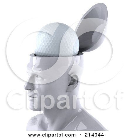 3d White Male Head Character With A Golf Ball Posters, Art Prints