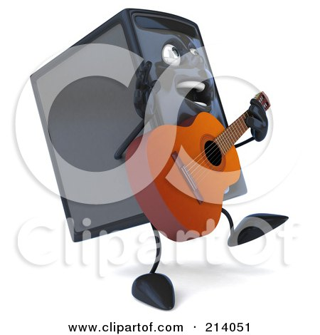 Royalty-Free (RF) Clipart Illustration of a 3d Computer Tower Character Walking Right And Playing A Guitar by Julos