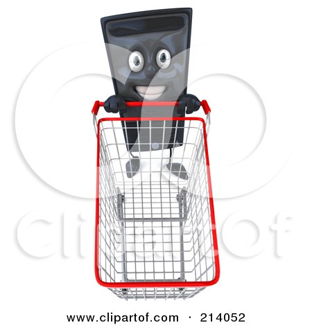 Royalty-Free (RF) Clipart Illustration of a 3d Computer Tower Character Looking Up And Pushing A Shopping Cart by Julos