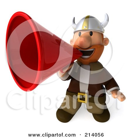 Royalty-Free (RF) Clipart Illustration of a 3d Young Viking Using A Megaphone by Julos