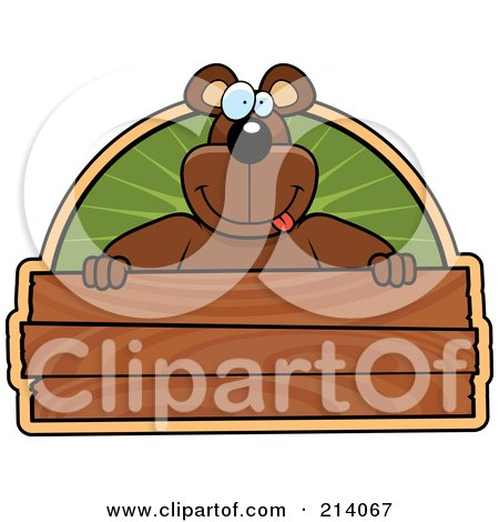 Royalty-Free (RF) Clipart Illustration of a Big Bear Smiling Over A Wooden Sign by Cory Thoman