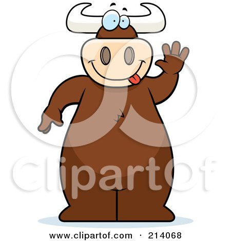 Royalty-Free (RF) Clipart Illustration of a Big Bull Standing And Waving by Cory Thoman