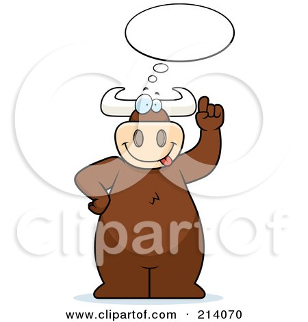 Royalty-Free (RF) Clipart Illustration of a Big Bull Under An Idea Balloon by Cory Thoman
