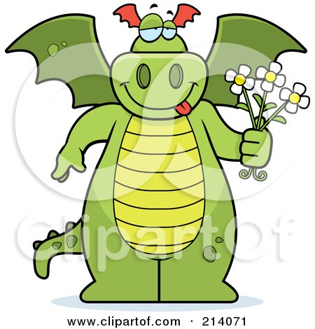 Royalty-Free (RF) Clipart Illustration of a Green Dragon Holding Flowers by Cory Thoman