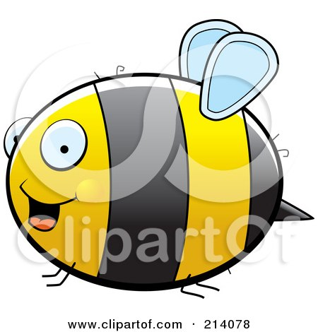 Royalty-Free (RF) Clipart Illustration of a Happy Chubby Bumble Bee Flying In Profile by Cory Thoman