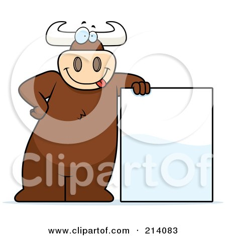 Royalty-Free (RF) Clipart Illustration of a Big Bull Leaning On A Blank Sign by Cory Thoman