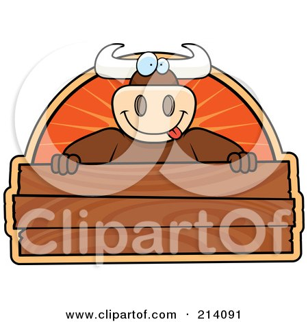 Royalty-Free (RF) Clipart Illustration of a Big Bull Smiling Over A Blank Wooden Sign by Cory Thoman