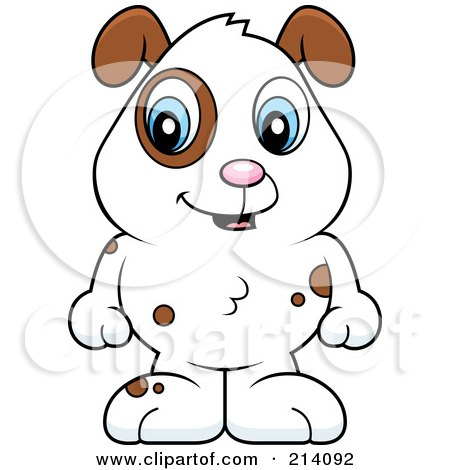 Royalty-Free (RF) Clipart Illustration of an Adorable Baby Dog With Brown Spots And A White Coat by Cory Thoman