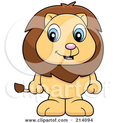 Royalty-Free (RF) Clipart Illustration of an Adorable Baby Lion Standing On His Hind Legs by Cory Thoman