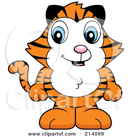 Royalty-Free (RF) Clipart Illustration of an Adorable Baby Tiger Standing On His Hind Legs by Cory Thoman