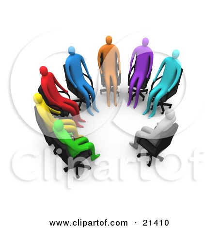 Clipart Illustration of a Group Of Diverse Gray, Blue, Purple, Orange, Red, Yellow And Green People Seated In Chairs In A Circle Of A Support Group by 3poD