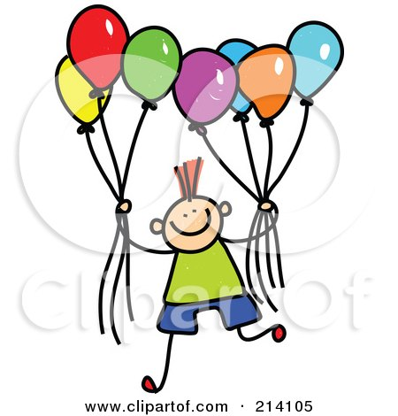 Royalty-Free (RF) Clipart Illustration of a Childs Sketch Of A Boy Holding Balloons by Prawny