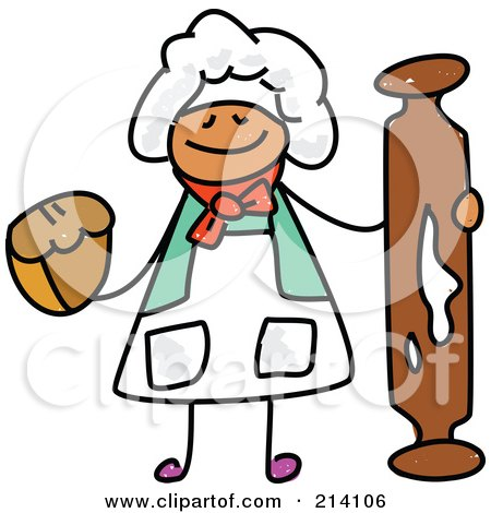 Royalty-Free (RF) Clipart Illustration of a Childs Sketch Of A Happy Baker With A Rolling Pin by Prawny