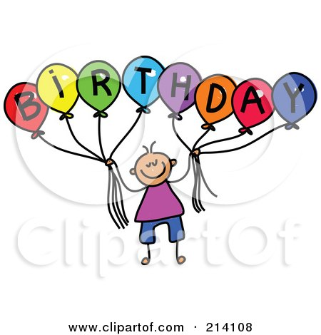 Royalty-Free (RF) Clipart Illustration of a Childs Sketch Of A Boy Holding Balloons Spelling Birthday by Prawny