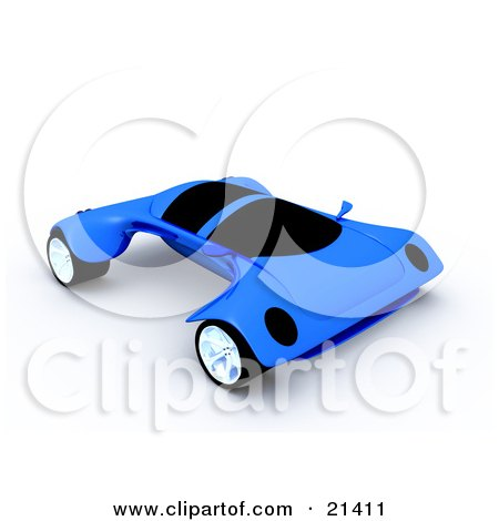 Clipart Illustration of a Futuristic Blue Sports Car With The Wheels Sticking Out Far On The Sides by 3poD