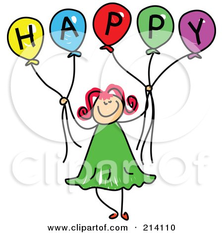 Royalty-Free (RF) Clipart Illustration of a Childs Sketch Of A Girl Holding Balloons Spelling Happy by Prawny