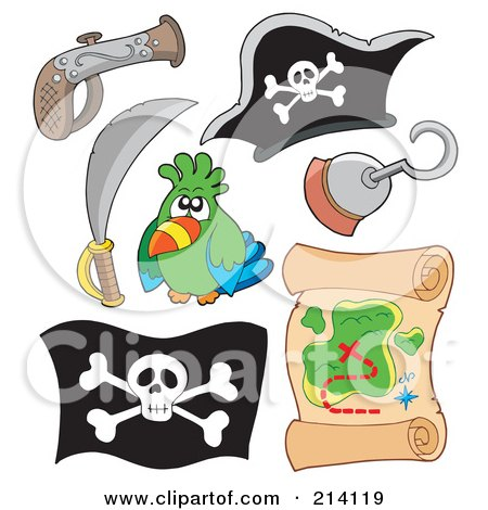 Royalty-Free (RF) Clipart Illustration of a Digital Collage Of Pirate Items - 13 by visekart