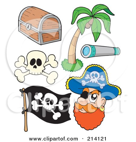 Royalty-Free (RF) Clipart Illustration of a Digital Collage Of Pirate Items - 4 by visekart