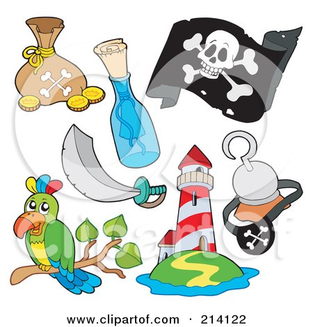 Royalty-Free (RF) Clipart Illustration of a Digital Collage Of Pirate Items - 9 by visekart