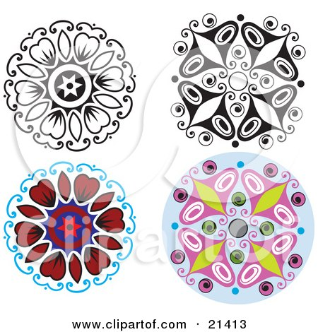 Clipart Illustration of a Collection Of Four Floral And Butterfly Designs With Color And Black And White Versions by Paulo Resende