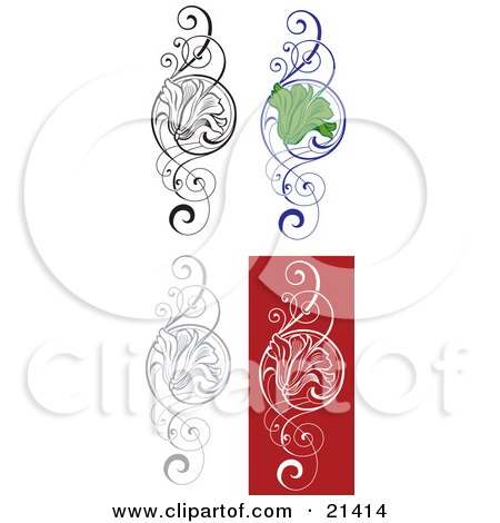 Clipart Illustration of a Collection Of Four Floral Scrolls With A Flower In The Center by Paulo Resende