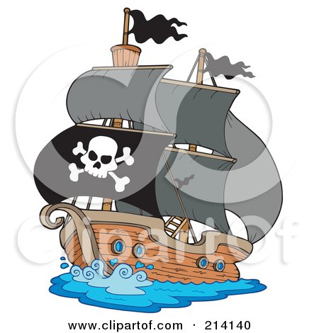 Royalty-Free (RF) Clipart Illustration of a Jolly Roger Flag On A Pirate Ship by visekart