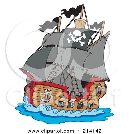 Royalty-Free (RF) Clipart Illustration of a Sailing Pirate Ship by visekart