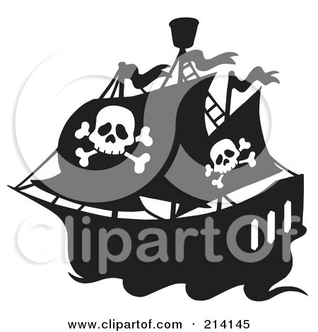 Royalty-Free (RF) Clipart Illustration of a Jolly Roger Flag On A Black And White Pirate Ship by visekart