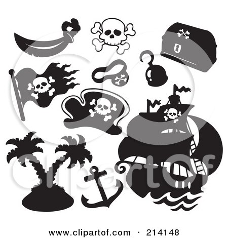 Royalty-Free (RF) Clipart Illustration of a Digital Collage Of Pirate Items - 14 by visekart