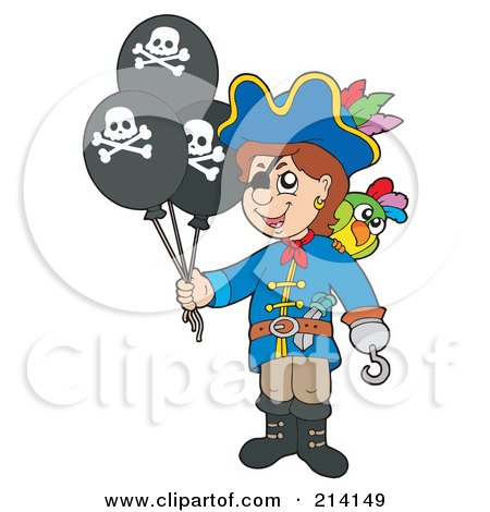 Royalty-Free (RF) Clipart Illustration of a Pirate Boy Holding Jolly Roger Balloons by visekart