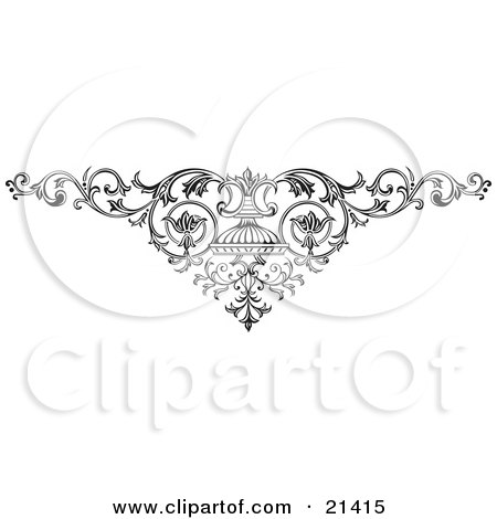 Clipart Illustration Of An Elegant Ornamental Scroll With Vines On A White Background