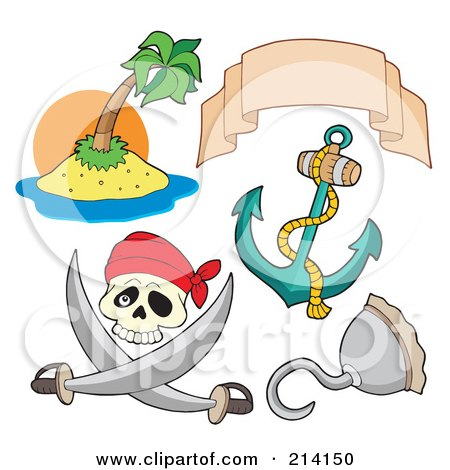 Royalty-Free (RF) Clipart Illustration of a Digital Collage Of Pirate Items - 7 by visekart