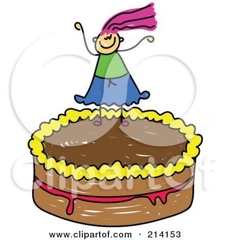 Royalty-Free (RF) Clipart Illustration of a Childs Sketch Of A Girl On A Cake by Prawny